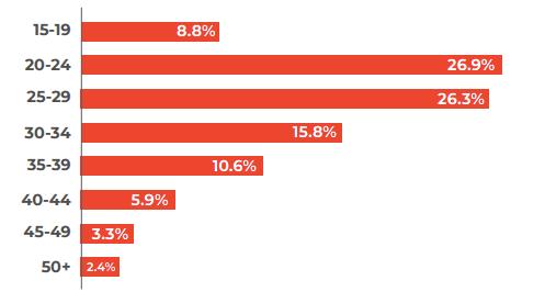 ベトナムIT人材の年齢層別人口動態